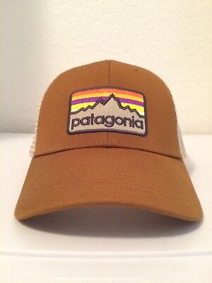 05e39a3893cc3 RARE NEW Patagonia Line Logo Badge Lopro Mesh Hat Bear Brown !