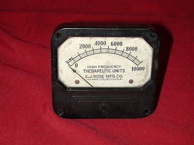 Vintage E.J. Rose MFG Electro-Therapy 0 - 10,000 Therapeutic Units Analog Meter