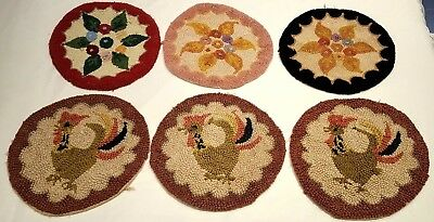 Lot of 6 Round Vintage Primitive Handmade Hooked Chair Pads Seat Pads