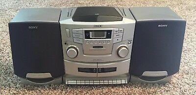 0075a286b81 Sony CFD-ZW755 Portable AM FM Dual Cassette CD Player Speaker Boombox Radio