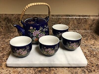 Beautiful Kutani Porcelain Japanese Tea Set Tea Pot and 4 Cups Flower Design