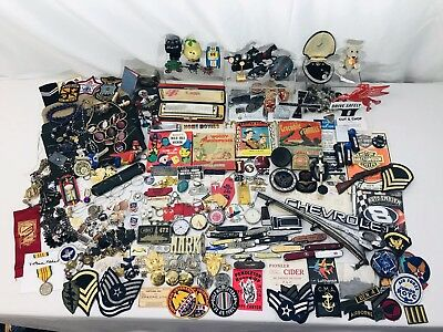 328PC Vintage Junk Drawer LOT Military Pocket Knives Jewelry Patch Car Emblems