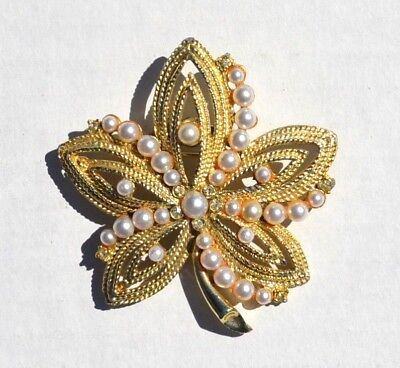 Vintage Goldtone Leaf Pendant Pin Brooch with Faux Pearls and Rhinestones