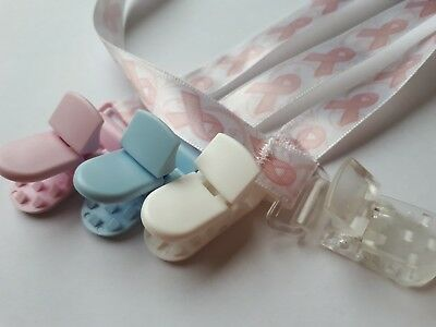 BREAST CANCER AWARENESS Dummy pacifier clip ribbon. FREE POST Buy 3 get 1 FREE.