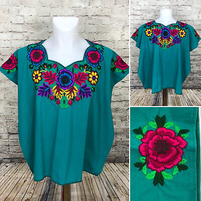 Guatemala Huipil Teal Blue Green Floral Mayan Poncho Women One size A1-3