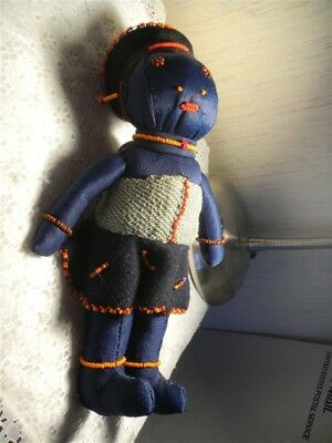 African Handmade Doll Navy Blue Material Mother With Child Bead Work