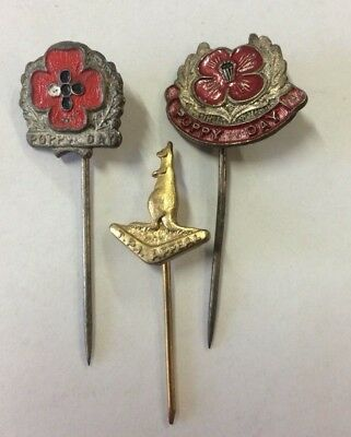3 Appeal Day Badges Pins Poppy Day Remembrance & TPI Kangaroo