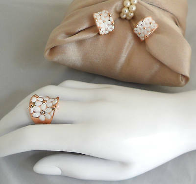 Rose Gold White Daisy Jewelry Set Ring and Half Hoop Earrings Enamel Daisies