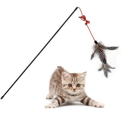 Teaser Feather Fun Toy Wire Chaser Wand With Bell Beads For Cat Kitten Pet