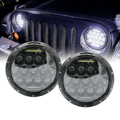 "7"" inch Black For JEEP JK GQ PATROL Projector LED Headlight + DRL Insert - 75w"