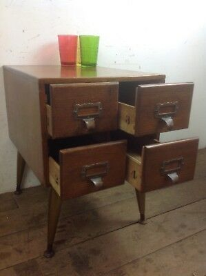 Vintage oak Bank of drawers index table brass cup handle retro legs bedside sofa