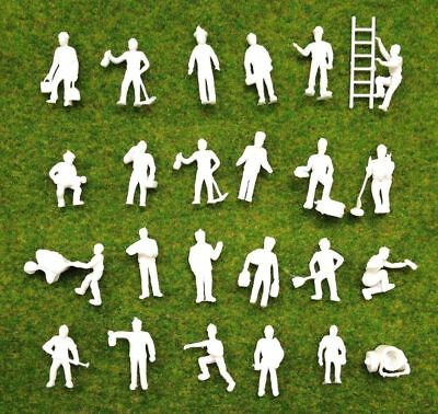 New 100Pc Good Quality HO Scale Unpainted Workers Figures People 1-2.5CM Approx.