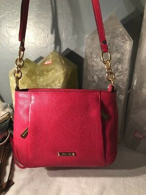 5bc064a3d444d6 Authentic New Nwt Michael Kors $248 Leather Hallie Pink Lipstick Crossbody  Bag