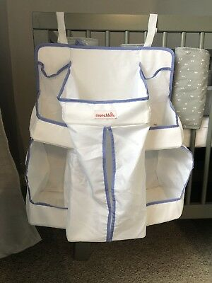 Munchkin Nappy Change Organiser for Cot / Cotbed White w/ Blue Trim