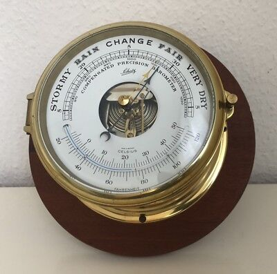 SCHATZ Compensated Precision BAROMETER mit Thermometer TOP ZUSTAND Messing