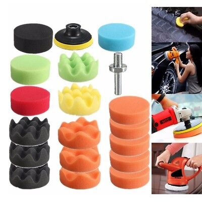 19Pcs Sponge Polishing Waxing Buffing Pads Kit Compound Auto Car + Drill Adapter