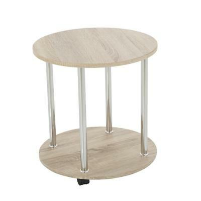 Side Table Lamp Table End Table 2 Tier Round Wheeled Washed Oak Chrome Furniture