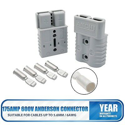 2X AC/DC ANDERSON 175AMP 600V Plug CABLE TERMINAL BATTERY POWER CONNECTOR-GREY