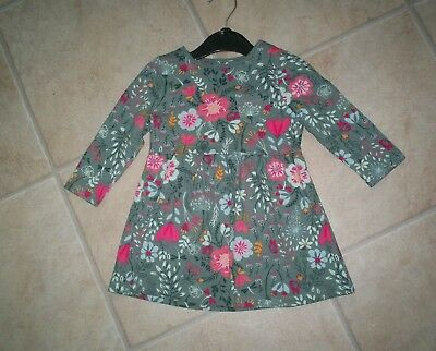 "Girls ""Nutmeg"" Vibrant Green/Pink/Multi Floral Tunic Dress for Age 12-18 months"
