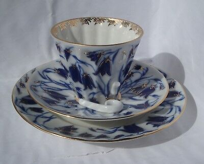 Russian Imperial Lomonosov Porcelain set of 3: cup, saucer, plate