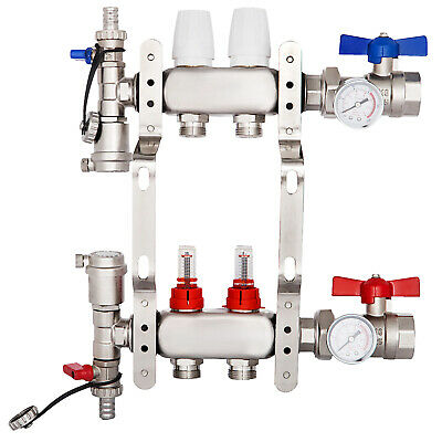 "2 Loop/Branch 1/2"" Pex Manifold Stainless Steel Radiant Floor Heating Set/Kit US"