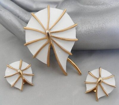 Lily Pad Brooch Earrings Set Lily Pad Jewelry Set White Enamel Lilypad Gifts