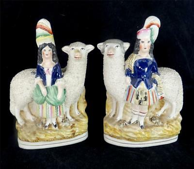 N747 PAIR ANTIQUE STAFFORDSHIRE POTTERY FIGURES FIGURINES SCOTTISH SHEEP c
