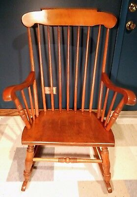 Vintage Colonial Handmade Solid Maple S. Bent & Bros Rocking Chair
