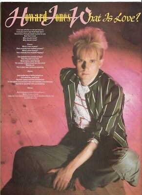 HOWARD JONES 'What Is Love' lyrics magazine PHOTO/Poster/clipping 11x8 inches