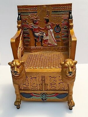 Egyptian Décor Trinket Box - King Tut's Golden Throne Jewelry Box - Egyptian