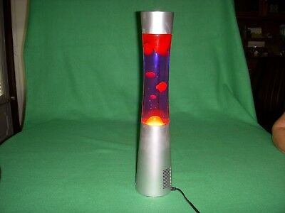 Silver Base 17.5-Inch Wireless Bluetooth Music Speaker Red Wax Lava Lamp