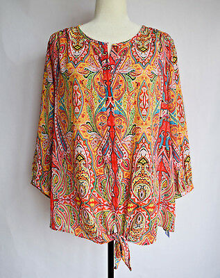a5b7007470a NWT Peter Nygard Blouse Paisley Tie Front Top Multi-Color ¾ Sleeve Size 22W  Plus