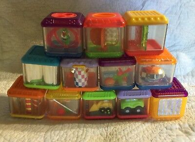 Fisher Price Peek-A-Boo Blocks Sensory Action Shake Rattle Hear Touch Lot Of 12