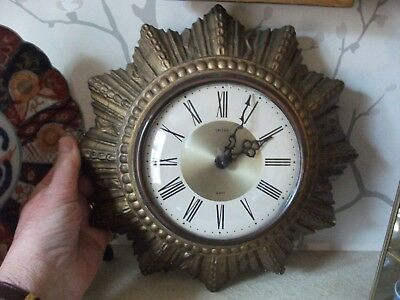 Vintage Sunburst  Art Deco GILDED PLASTER SMITHS wall clock INTEGRAL KEY