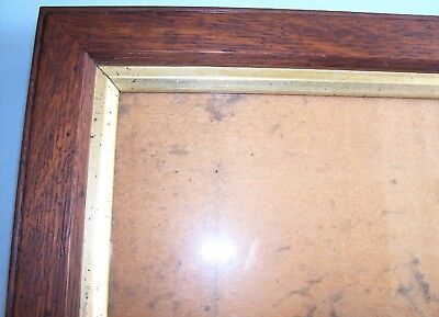 ANTIQUE Lt VICTORIAN CARVED SOLID OAK GILT SLIP PICTURE FRAME OLD GLASS C.1890