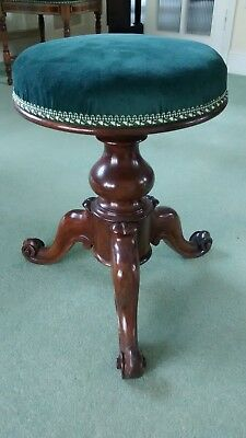 Antique Rosewood Round Adjustable Piano Stool with 3 legs