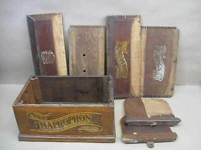 Vtg Columbia Cylinder Phonograph Player Case Wood Parts Finger Joint Sides Box