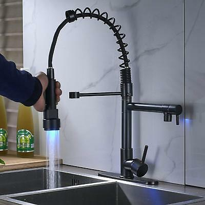 """Oil Rubbed Bronze Kitchen Faucet LED Pull Down  Sprayer Sink Mixer With 10""""Cover"""