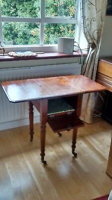 Antique Victorian Mahogany Drop-Leaf Work Table Side Table, circa 1880