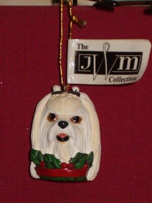 White Maltese Dog Head Ornament - from the JWM COLLECTION Retired