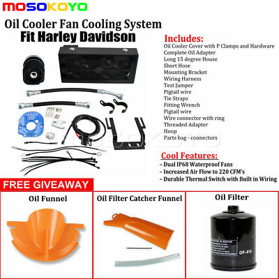 Motorcycle Reefer Oil Cooler Fan Cooling System Kit For Harley Softail 2001-2017
