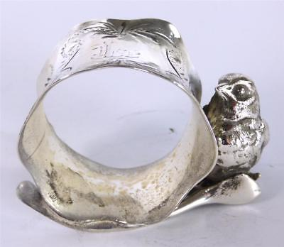 Antique American Silver Plate Plated Napkin Ring Bird Figurine