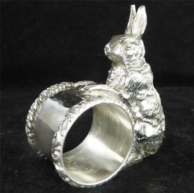 Antique American Silver Plate Plated Napin Ring With Rabbit Figure