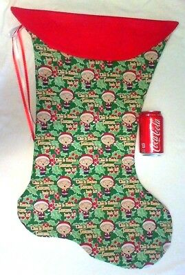 "Giant Christmas Stocking Family Guy ""stewie"" Christmas Print Handmade New"