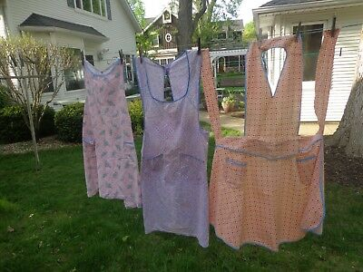 Lot-3 Full Sized Kitchen Aprons-Well Used-Faded-Fitted