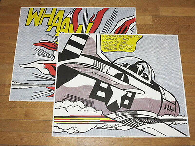 "ROY LICHTENSTEIN POSTER SET of 2 "" WHAAM ! "" BOTH PANELS POP ART PLAKAT in MINT"