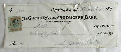 Check from Providence Grocers and Producers Bank -1875 - With Revenue Stamp
