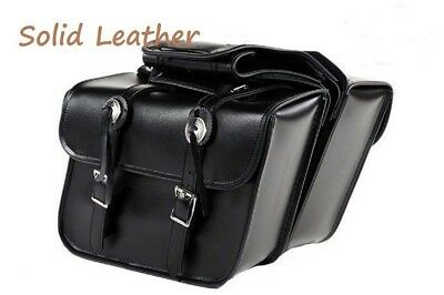 Black Motorcycle Real LEATHER Saddlebags for TRIUMPH NO BRACKETS NEEDED