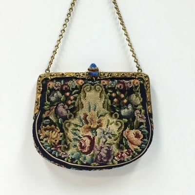 "Vintage Navy Floral Tapestry Evening Bag Lapis Clasp 5""x 5-1/2"""