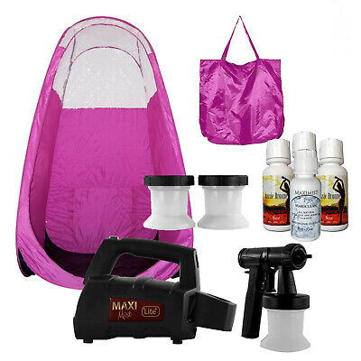 Maximist Lite Plus HVLP Sunless Spraytan kit w Pink Tent and Tampa Bay Tan spray